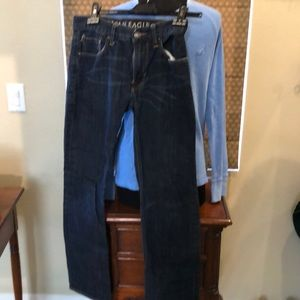 American Eagle Jeans with light blue l/s shirt